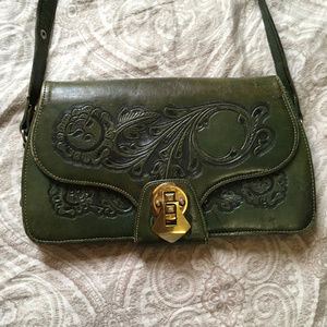 40s Vintage Green Tooled Leather Mexican Handbag